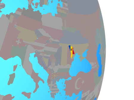 Moldova with national flag on simple political globe. 3D illustration.