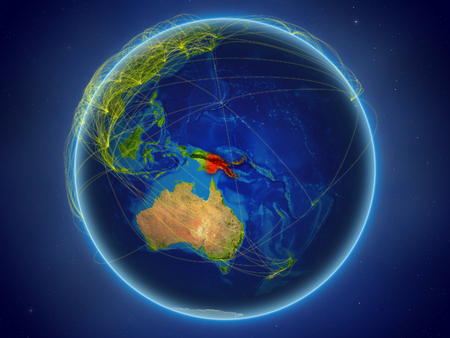 Papua New Guinea from space on planet Earth with digital network representing international communication, technology and travel. 3D illustration.