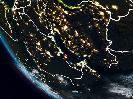 Qatar at night from space with visible country borders. 3D illustration.