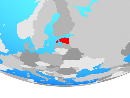 Estonia on simple political globe. 3D illustration.