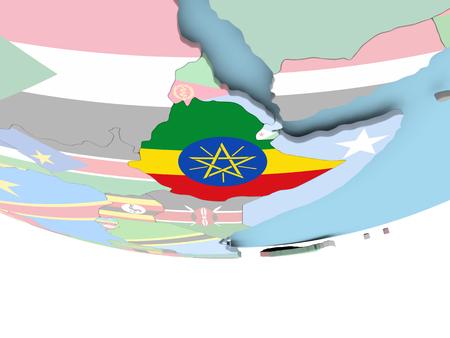 Ethiopia on globe with flag. 3D illustration.