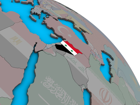 Syria with embedded national flag on simple blue political 3D globe. 3D illustration. Stock Photo