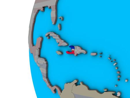 Haiti with national flag on blue political 3D globe. 3D illustration. Stock Photo