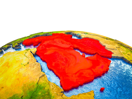 Western Asia on 3D Earth with visible countries and blue oceans with waves. 3D illustration.