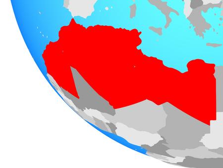 Maghreb region on simple globe. 3D illustration.