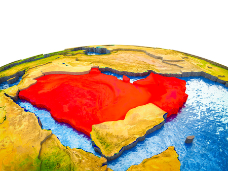 Arabia on 3D Earth with visible countries and blue oceans with waves. 3D illustration.