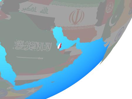 Qatar with embedded national flag on blue political globe. 3D illustration. Stock Photo