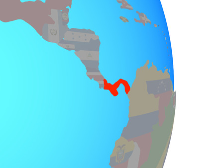 Panama with national flag on simple political globe. 3D illustration.