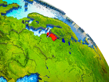 Estonia Highlighted on 3D Earth model with water and visible country borders. 3D illustration.
