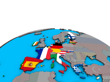Eurozone member states with embedded national flags on political 3D globe. 3D illustration.