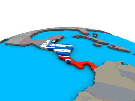 Central America with embedded national flags on political 3D globe. 3D illustration.