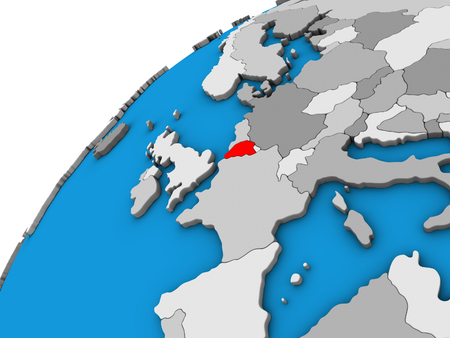 Belgium on 3D globe. 3D illustration.