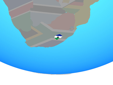Lesotho with national flag on simple political globe. 3D illustration.