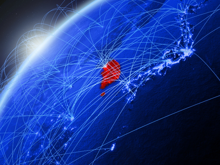 South Korea on model of green planet Earth with international networks. Concept of blue digital communication and technology. 3D illustration. Stock Photo