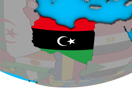Libya with embedded national flag on simple political 3D globe. 3D illustration. Stock Photo