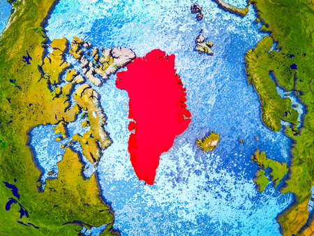 Greenland on model of 3D Earth with blue oceans and divided countries. 3D illustration. Stockfoto