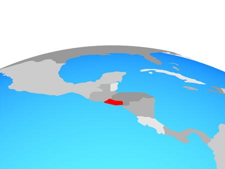 El Salvador on political globe. 3D illustration.