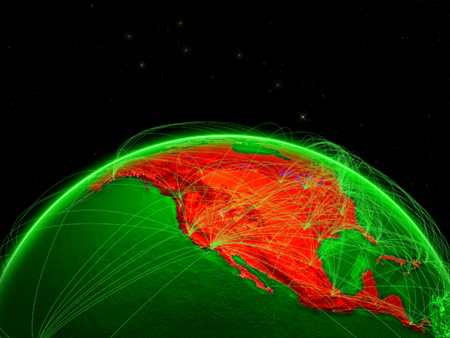 North America on green Earth in space with networks representing intercontinental air traffic or telecommunication network. 3D illustration.