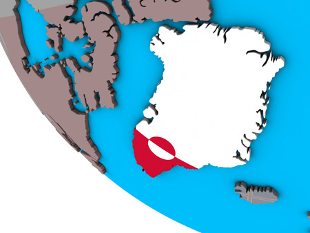 Greenland with embedded national flag on simple 3D globe. 3D illustration. Stock Photo