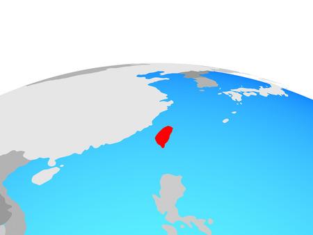 Taiwan on political globe. 3D illustration.
