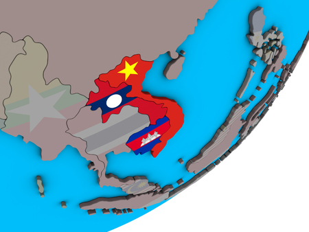 Indochina with national flags on blue political 3D globe. 3D illustration.