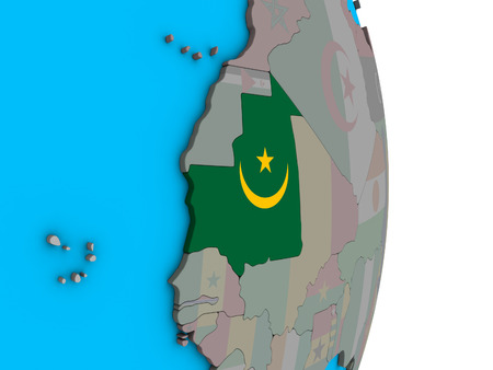Mauritania with embedded national flag on simple political 3D globe. 3D illustration.
