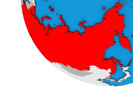 Soviet Union on simple 3D globe. 3D illustration. Stock Photo