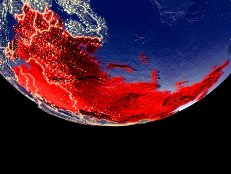 Satellite view of Former Soviet Union from space at night. Beautifully detailed plastic planet surface with visible city lights. 3D illustration. Stock Photo