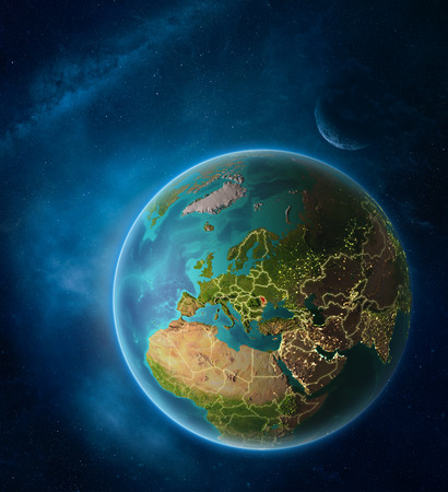 Planet Earth with highlighted Moldova in space with Moon and Milky Way. Visible city lights and country borders. 3D illustration. Stock Photo