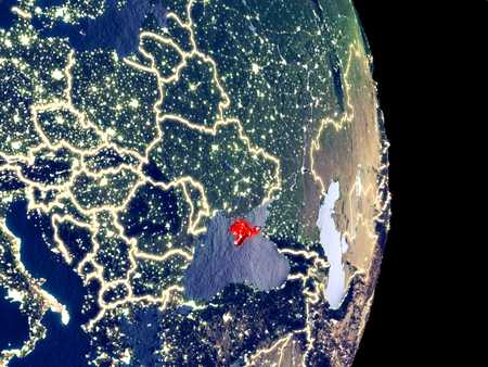 Satellite view of Crimea at night with visible bright city lights. Extremely fine detail of the plastic planet surface. 3D illustration.