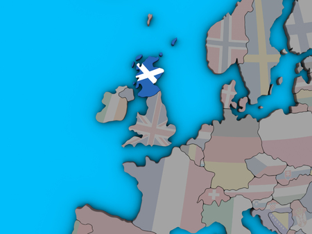 Scotland with embedded national flag on blue political 3D globe. 3D illustration.