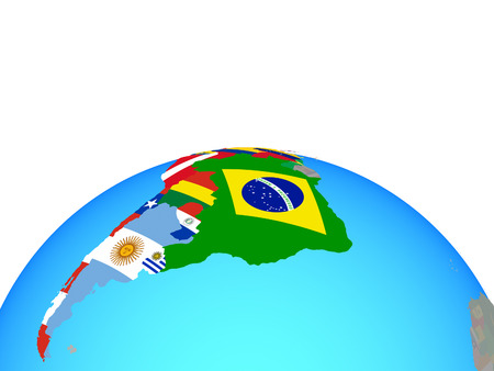 Latin America with national flags on political globe. 3D illustration.