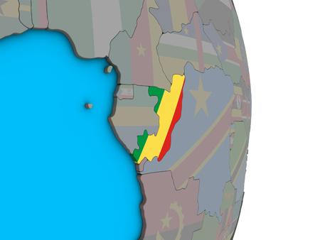 Congo with embedded national flag on simple political 3D globe. 3D illustration. Standard-Bild - 112771180