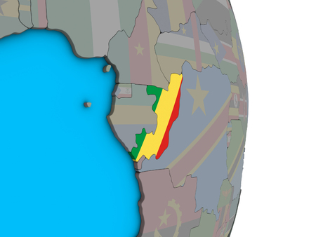 Congo with embedded national flag on simple political 3D globe. 3D illustration.