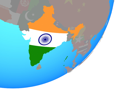 India with embedded national flag on blue political globe. 3D illustration.