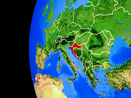 Croatia from space on realistic model of planet Earth with country borders and detailed planet surface. 3D illustration.