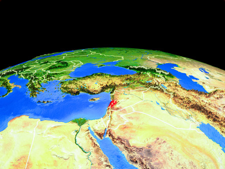 Lebanon on model of planet Earth with country borders and very detailed planet surface. 3D illustration.