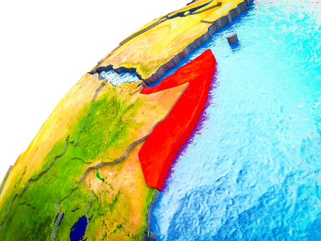 Somalia on 3D Earth model with visible country borders. 3D illustration. Stockfoto