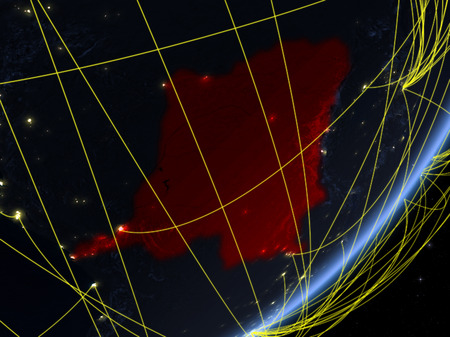 Dem Rep of Congo on model of planet Earth with network at night. Concept of new technology, communication and travel. 3D illustration.