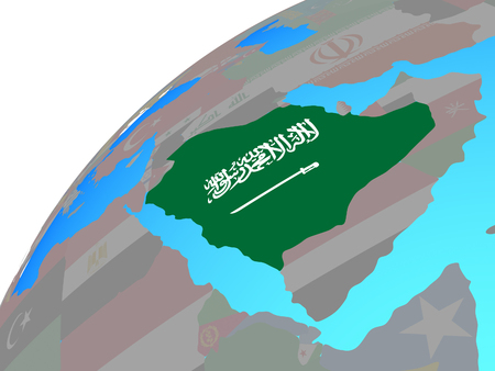 Saudi Arabia with embedded national flag on globe. 3D illustration.