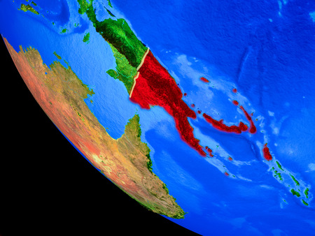Papua New Guinea on realistic model of planet Earth with country borders and very detailed planet surface. 3D illustration. Stock Photo