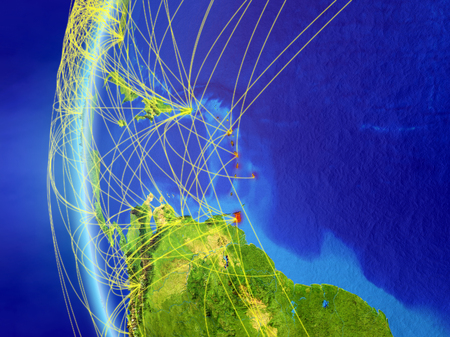 Caribbean from space on model of Earth with international network. Concept of digital communication or travel. 3D illustration. Stock Photo