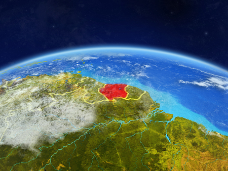 Suriname on planet Earth with country borders and highly detailed planet surface and clouds. 3D illustration.