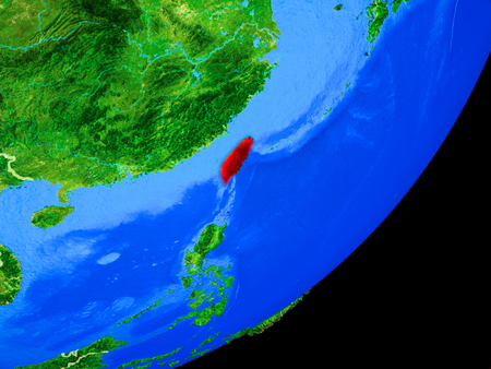 Taiwan on planet Earth with country borders and highly detailed planet surface. 3D illustration. Stock Photo