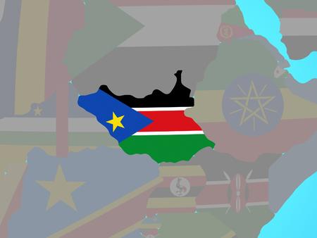 South Sudan with national flag on blue political globe. 3D illustration.