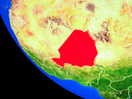 Niger on realistic model of planet Earth with country borders and very detailed planet surface. 3D illustration.