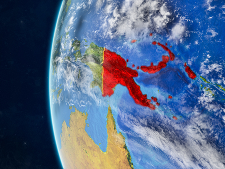 Papua New Guinea from space on model of planet Earth with country borders and very detailed planet surface and clouds. 3D illustration.