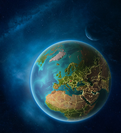 Planet Earth with highlighted Slovakia in space with Moon and Milky Way. Visible city lights and country borders. 3D illustration. Stock Photo