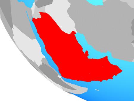 Arabia on simple globe. 3D illustration. Stock Photo