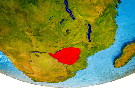 Zimbabwe on 3D Earth with divided countries and watery oceans. 3D illustration.
